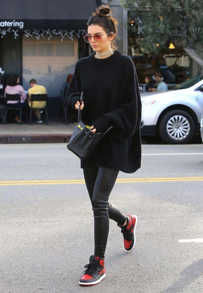 8a7aa2141a ... or even an oversized sweater will look put-together with leggings—it s  an outfit combination that can keep you warm without compromising your style .