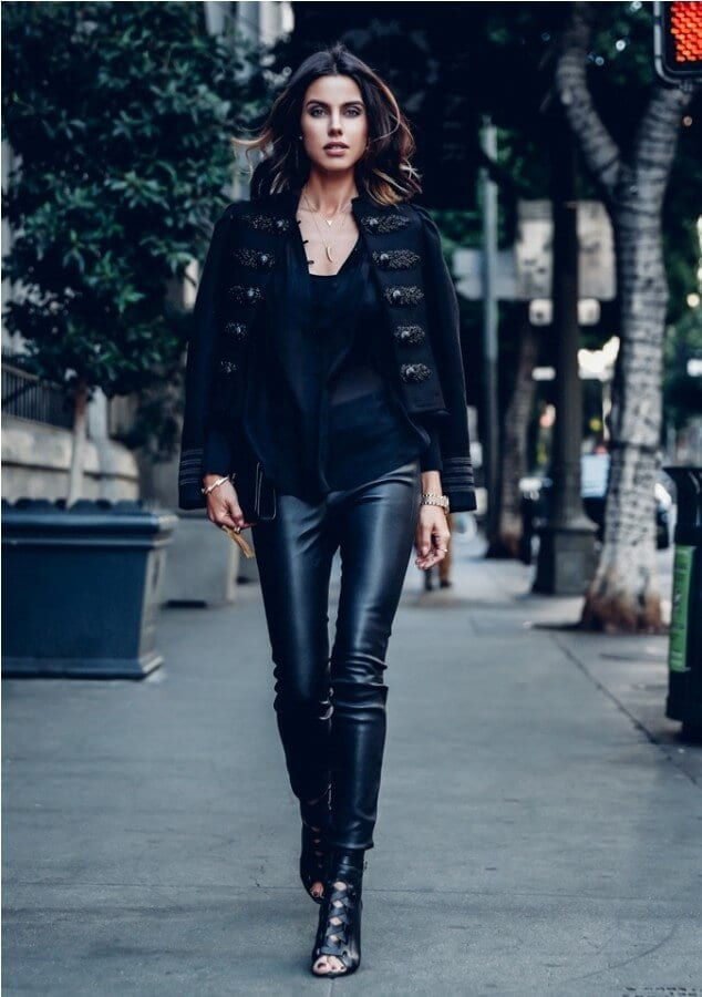 leather trousers with band jacket