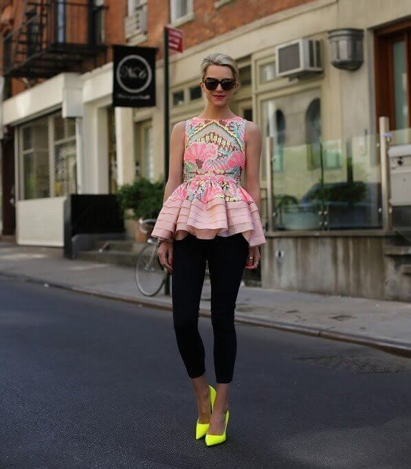 peplum top with leggings and neon yellow pumps