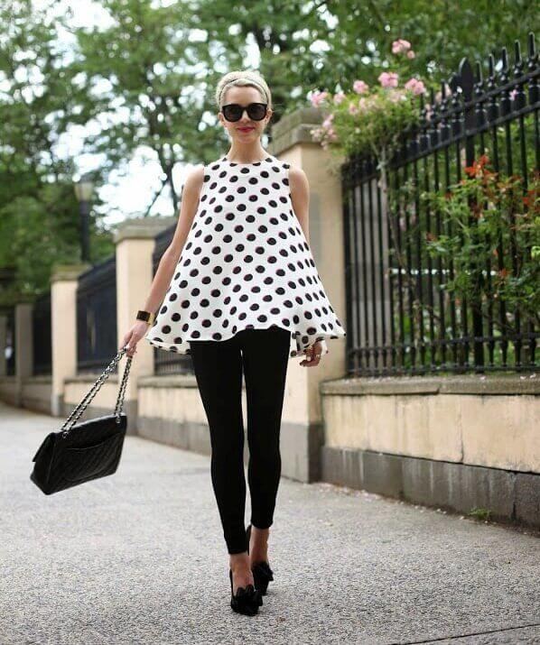 polka dots top with black leggings