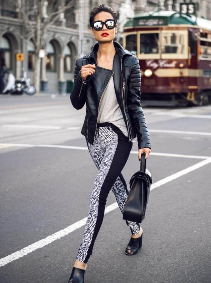 graphic print leggings with biker jacket and tee