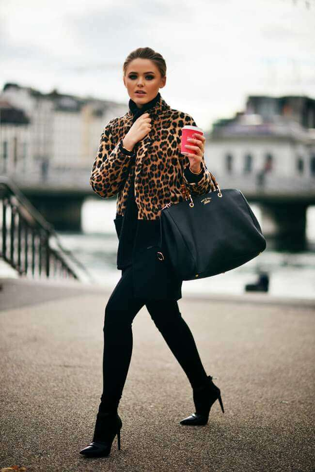 leopard print coat with leggings and boots