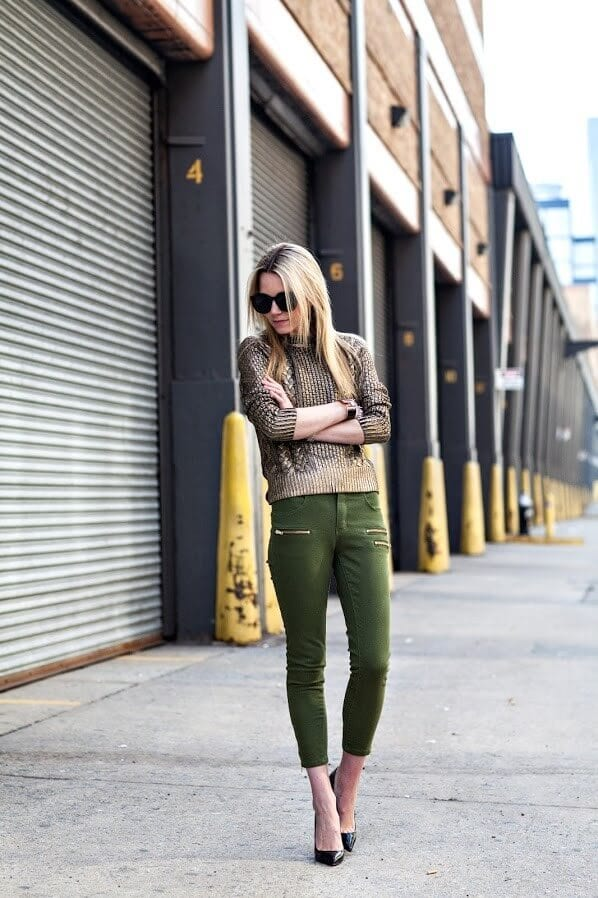 a girl with Olive green pant