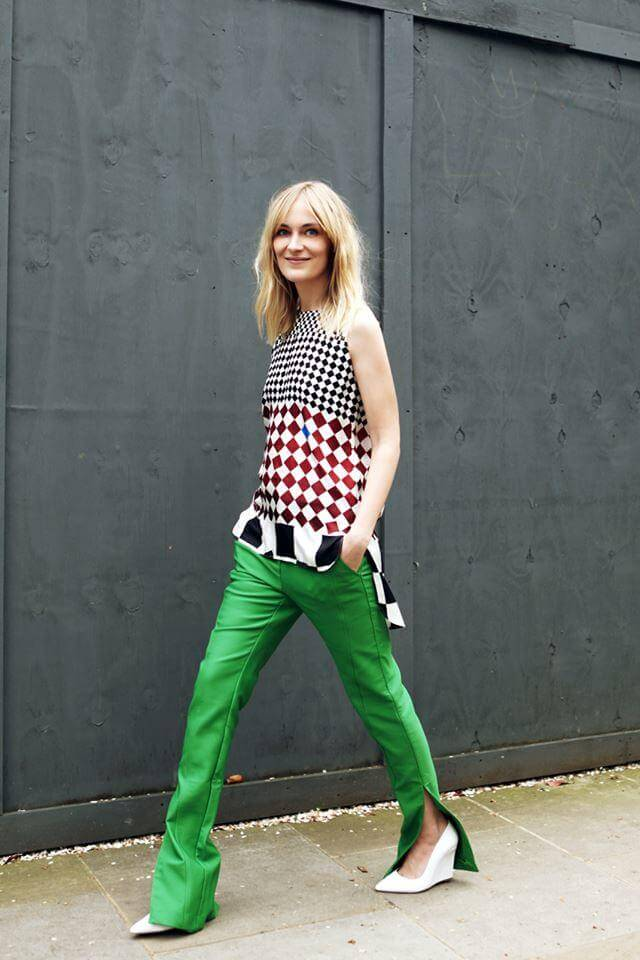 a girl with Kelly green pant