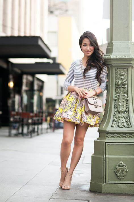 Striped Tee with Floral Bottom