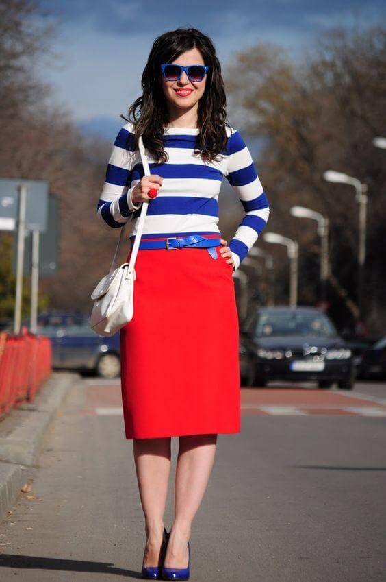 Navy and White Striped Shirt