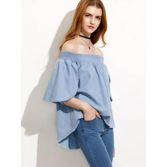 Off-the-Shoulder Chambray Shirt