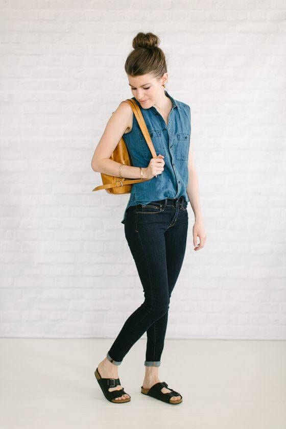 Sleeveless Chambray Blouse