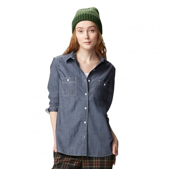 Botton Down Chambray Shirt with Checked Trousers