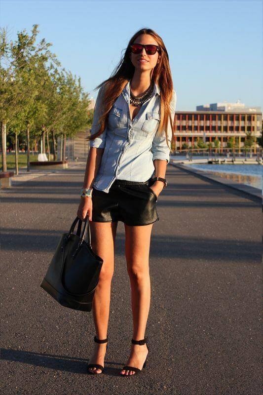 Chambray Button Down Top with Leather Shorts