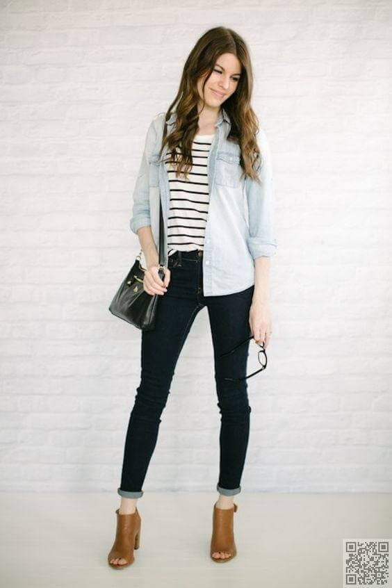 Chambray Shirt with Striped Tee
