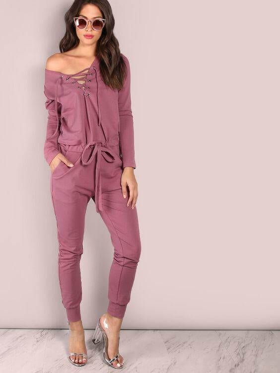 Lace-up Style Jumpsuit