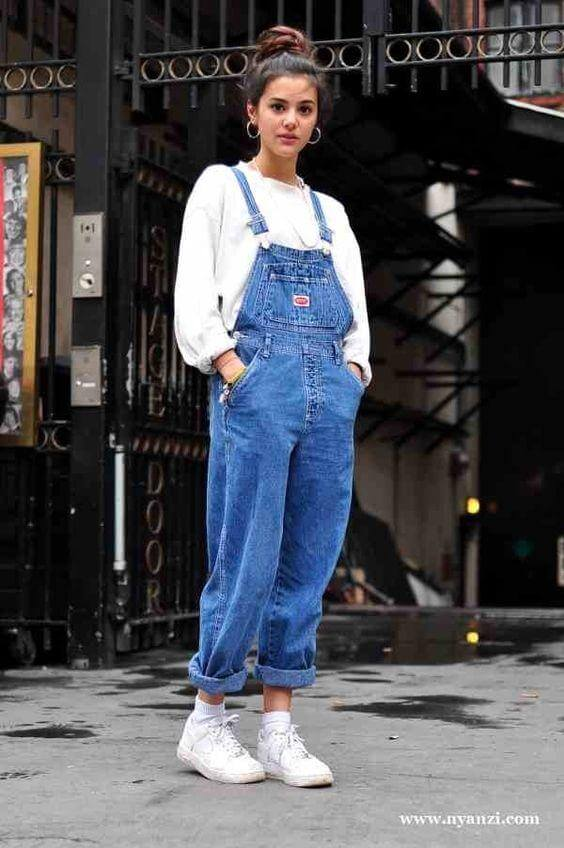 a girl with Overalls