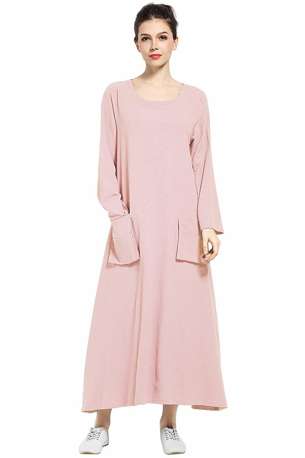 pink Cotton Pocket Dress