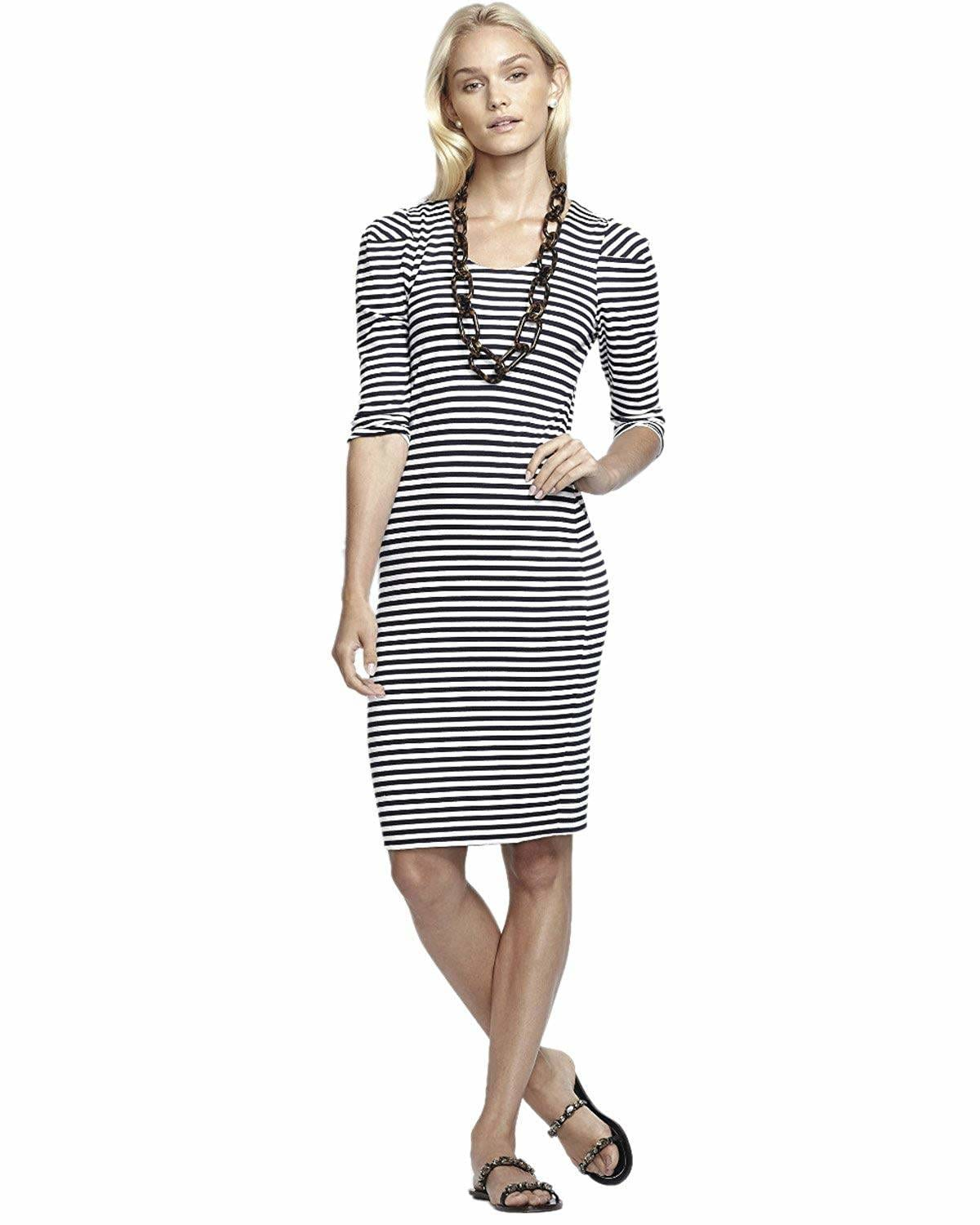Striped Cotton Knee-length Dress