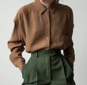 a girl with Button-down shirt