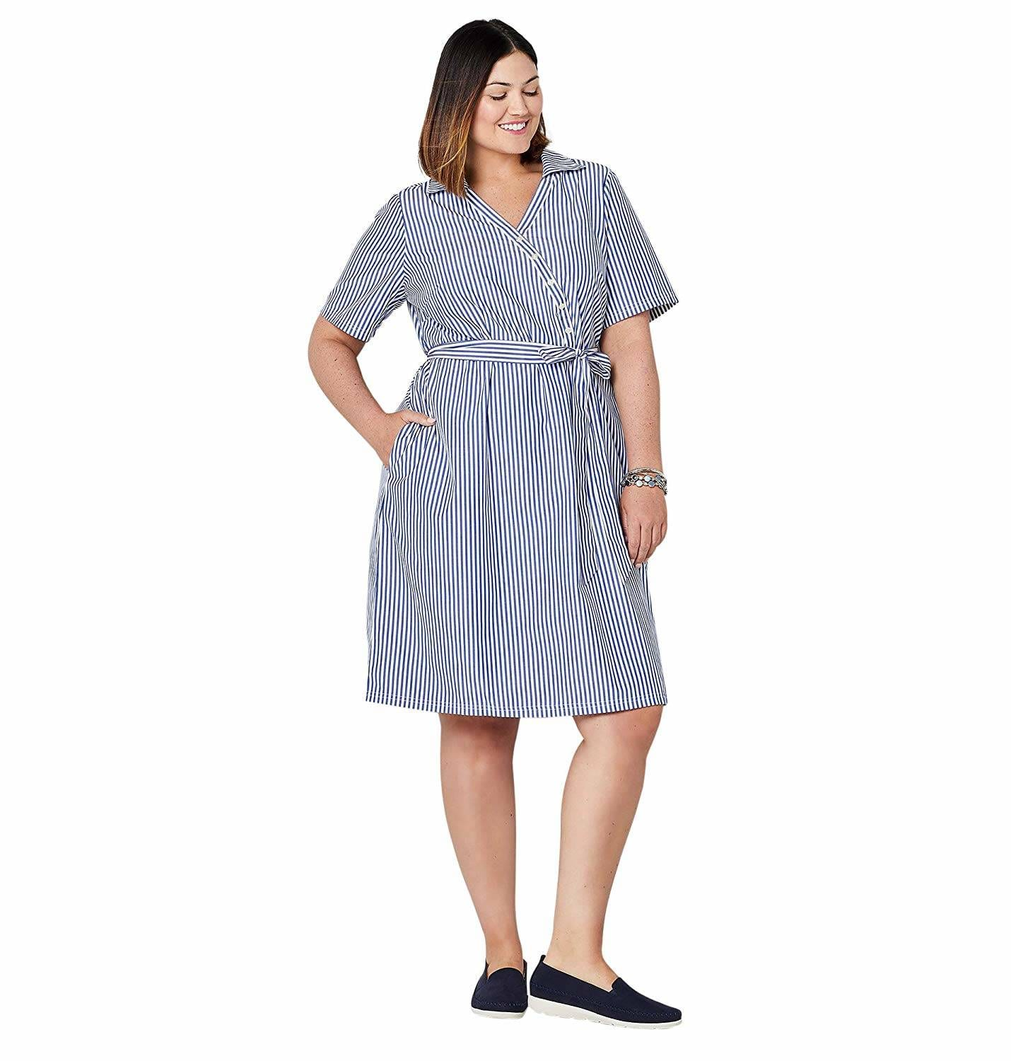 plus size Striped Cotton Knee-length Dress