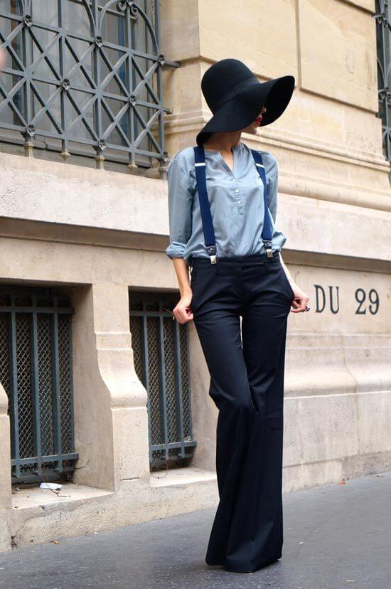 Suspender with Wide-legged Pants