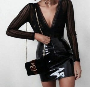 9f6e2d7fd513 Leather is the mother of chicness, and the below examples support my  theory. Just pair your leather skirt with sequins or shiny tops, a pair of  super chic ...