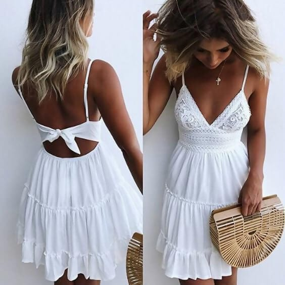 cf39e766b4 ... are other beach-like elements you don t want to miss. Shop similar dress   CUCUHAM Women Summer Backless Mini Dress White Evening Party Beach Dresses  ...