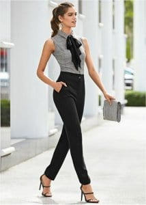 ca44865b4a You can wear any top you like as well, just tuck it into your trousers. A  tight t-shirt can give you a casual look to your sexy business outfit: